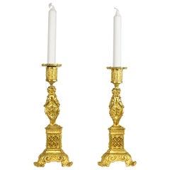 19th Century Pair of Ormolu Candlesticks with Caryatids