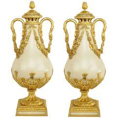 Pair of French Ormolu-Mounted Carrara Marble Vases, circa 1860