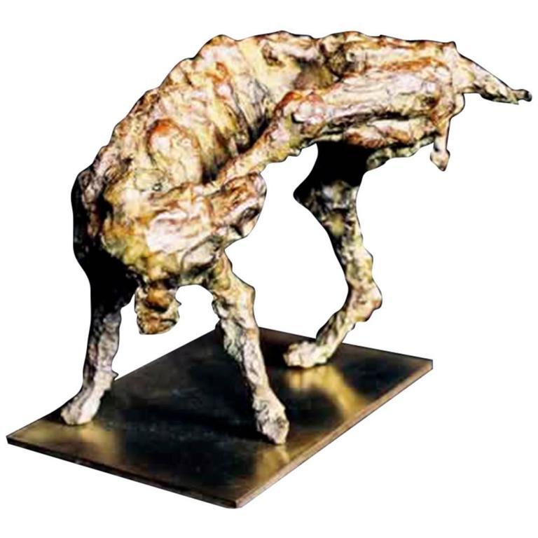 """Bronze Sculpture """"the Dog"""" by the Artist Emmée Parizot"""