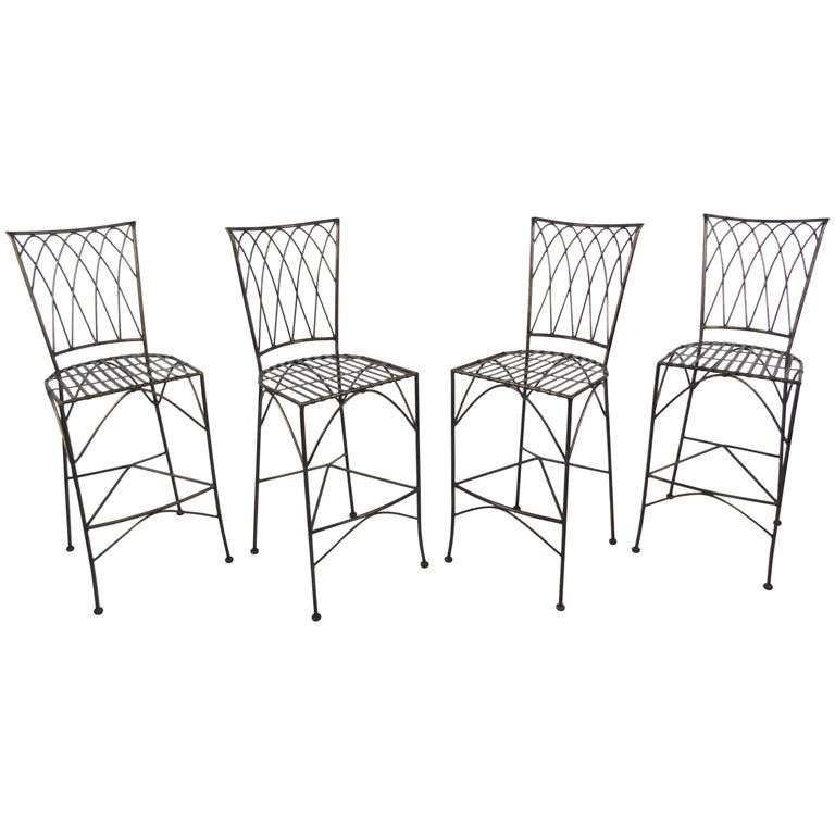 Set of Four Modern Bar Stools For Sale