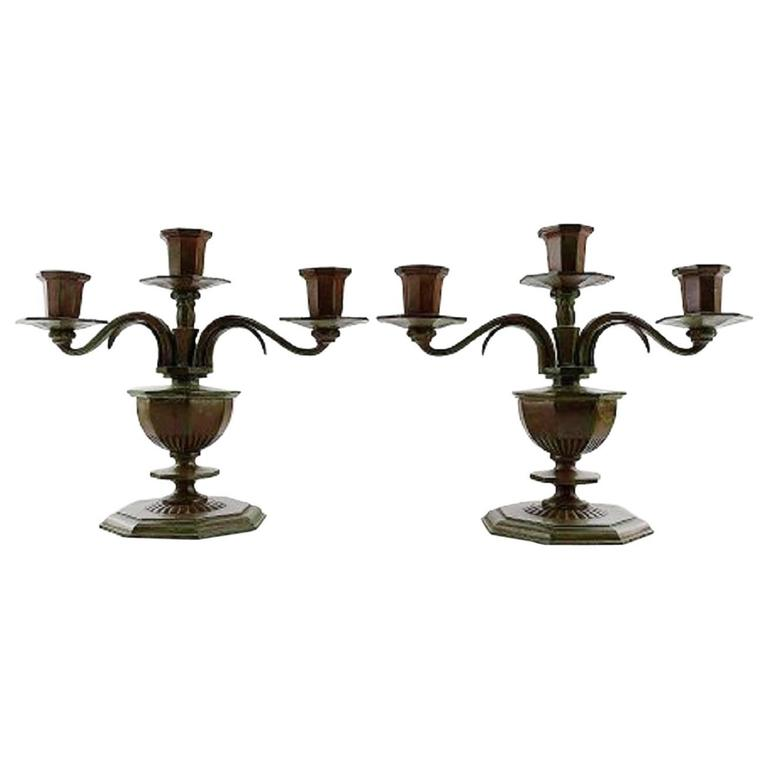 Pair of Three-Armed Gab  Art Deco Candlesticks in in Bronze, 1930s-1940s, Sweden