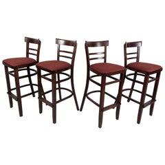 Set of Four Modern Hardwood Barstools