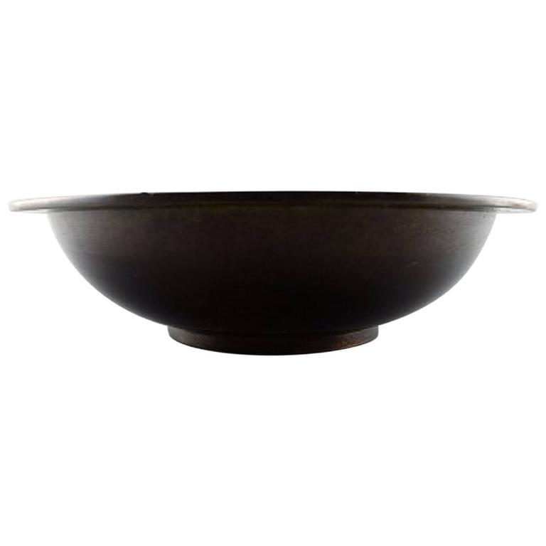 Just Andersen Art Deco Bronze Bowl, Signed B 8. Danish Design, 1930s