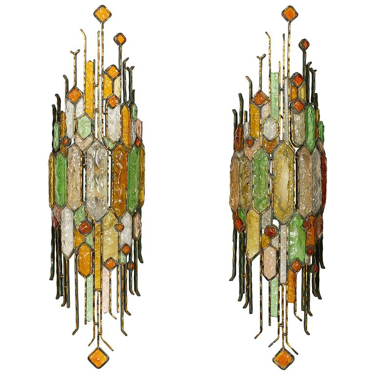 Very Large Pair of Wall Lights in the style of Poliarte at 1stdibs