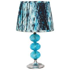 1930's Glass Lamp With Indian Tie-Dyed Silk Lampshade