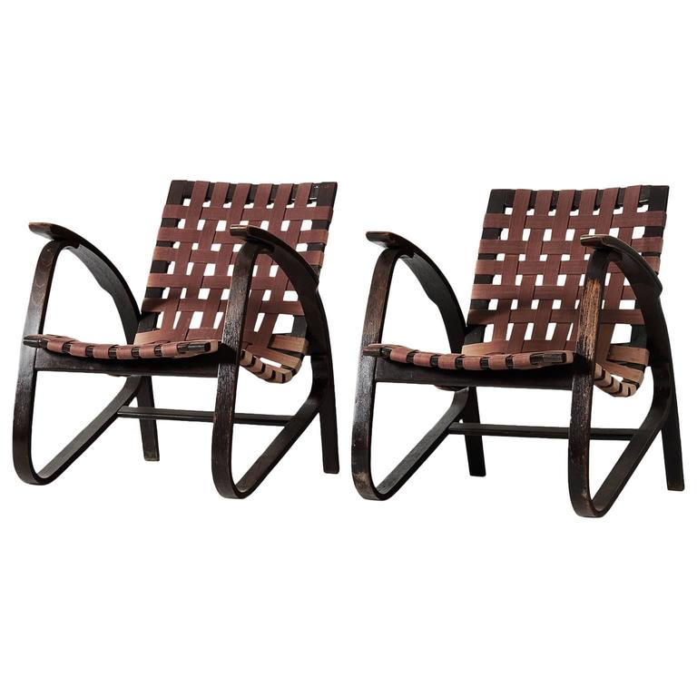 Jan Vanek Pair of Easy Chairs with Woven Straps Upholstery