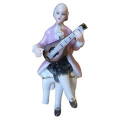 German Dresden Porcelain Figurine, Mandolin Player