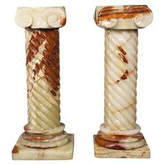 Pair of Onyx Contemporary Style Pedestals, Early 20th Century