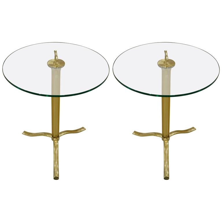 Pair of Italian Mid-Century Murano Glass and Brass Tripod Side or End Tables For Sale
