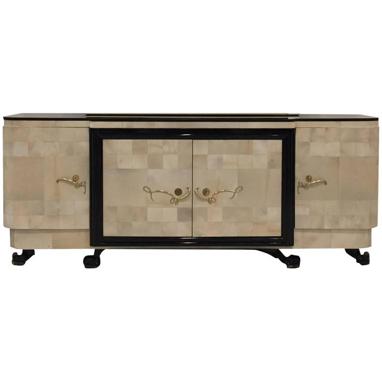 """French Art Deco Parchment Buffet with Ebony Marble Top and """"Portor"""" Legs For Sale"""