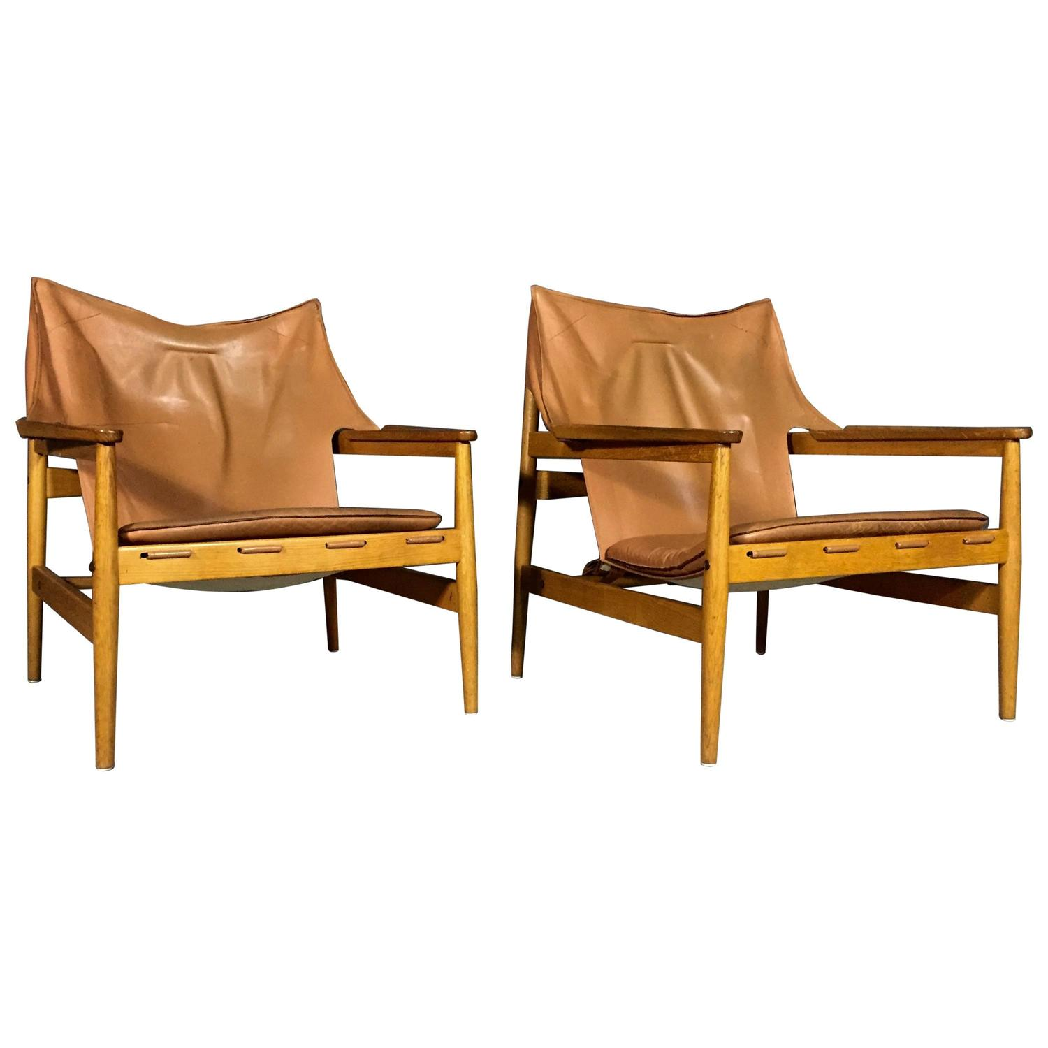 Pair Of Hans Olsen Leather Sling Chairs For Viska Mobler