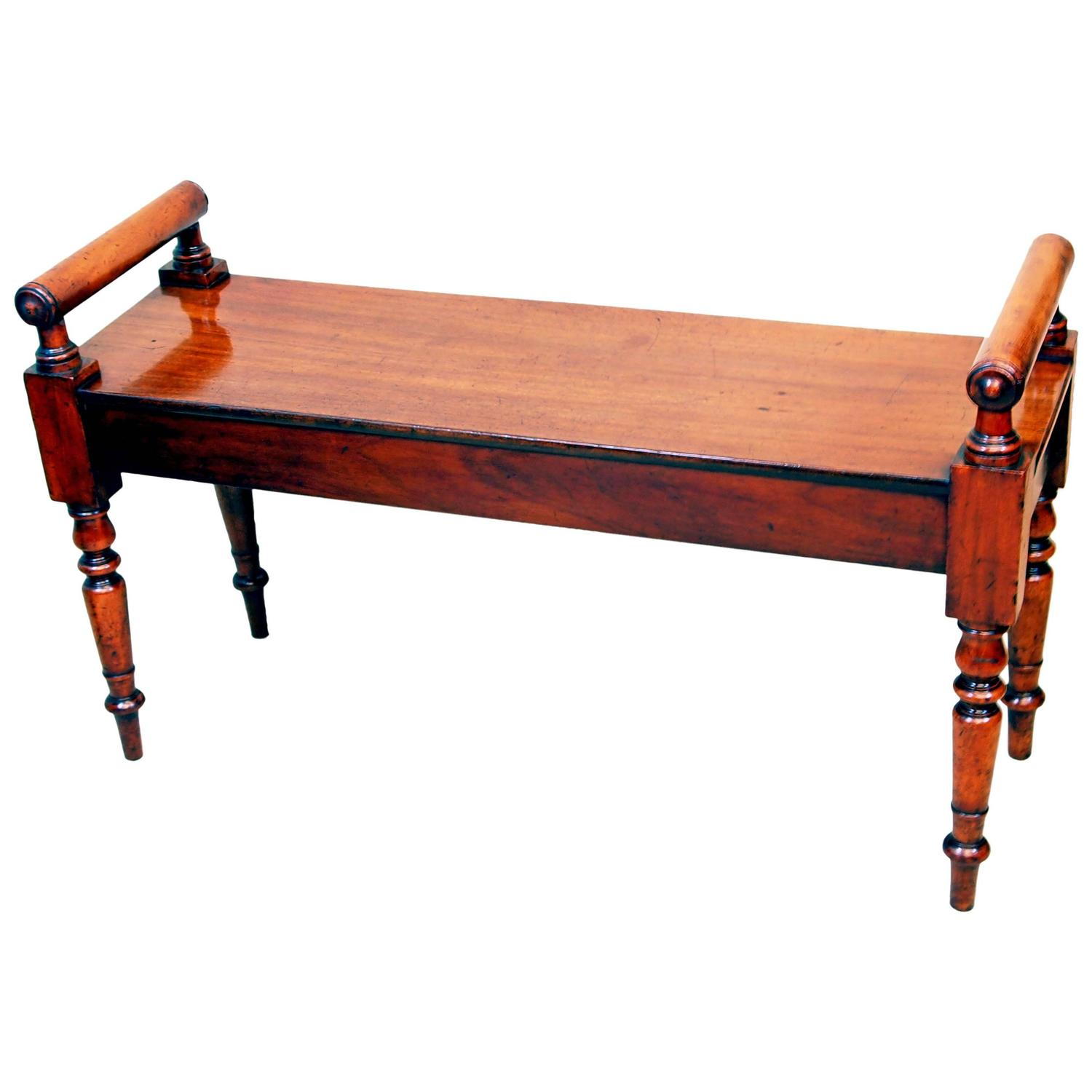 Antique Mid 19th Century Mahogany Hall Bench For Sale At 1stdibs