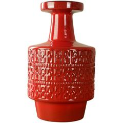 Large Modernist Bright Red West German Floor Vase by Fohr Pottery, circa 1970