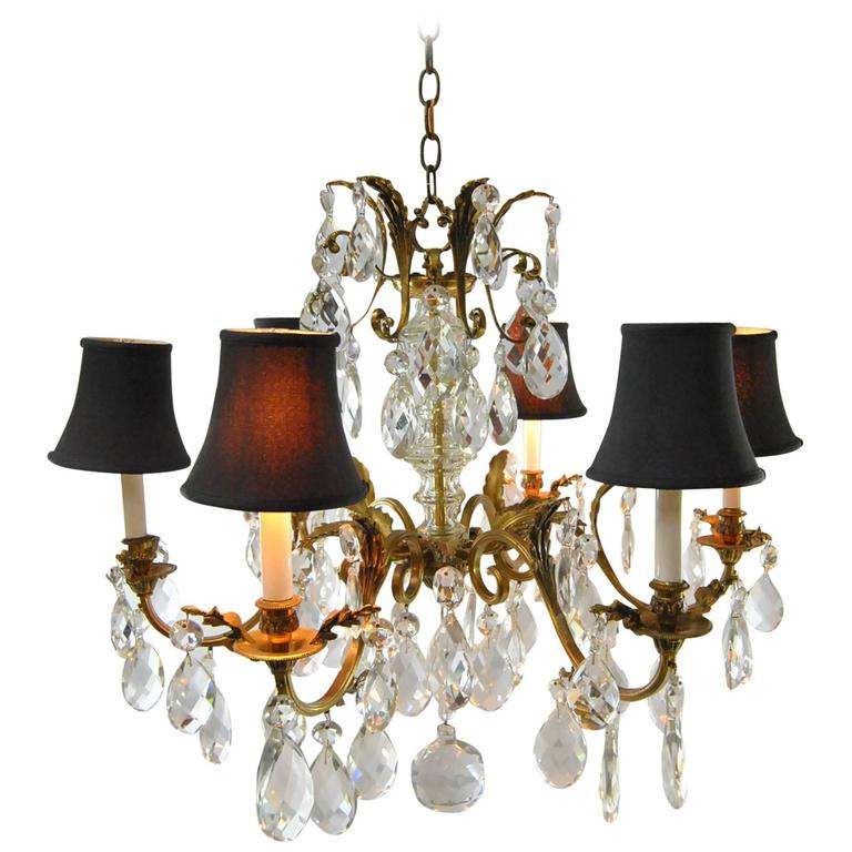 French Bronze Crystal Chandelier with Six Arms