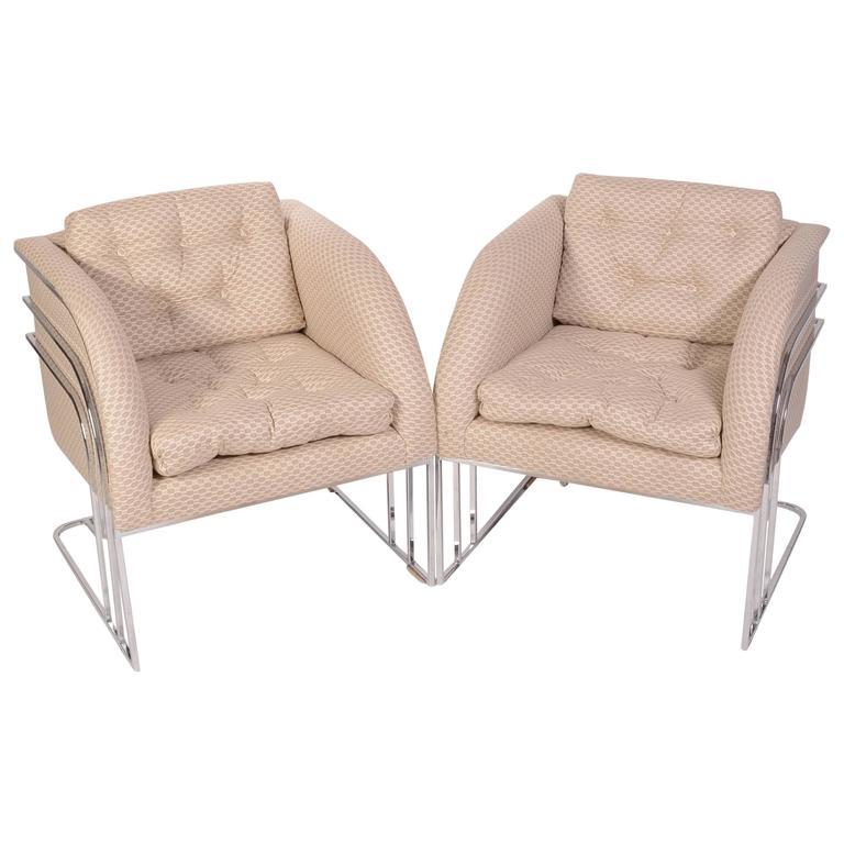Pair of Milo Baughman Mid-Century Club Chairs