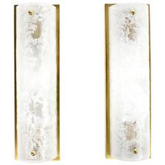 Beautiful Pair of Brass and Glass Vanity Mirror Sconces by Hillebrand 1960s