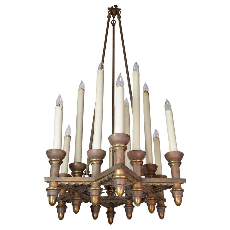 Iron and Bronze 12 Candle Chandelier