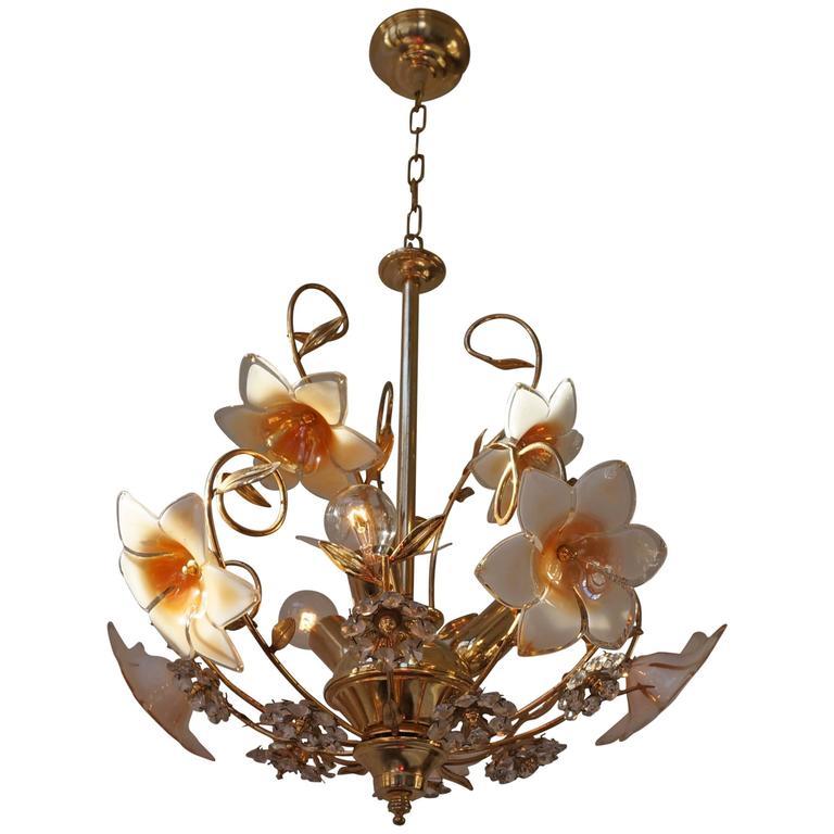 Italian Brass Ans Murano Glass Chandelier