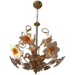 Italian Brass Ans Murano Glass Chandelier