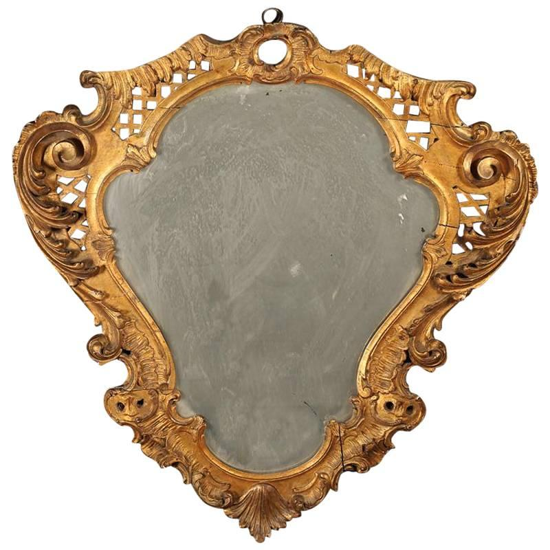 French Rococo Style Giltwood Cartouche Form Mirror, Late 19th Century
