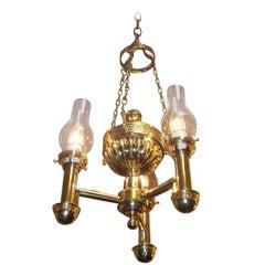 American Brass Urn and Greek Key Argand Chandelier, Circa 1820