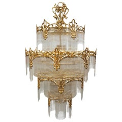 Huge Murano Glass and Brass Chandelier