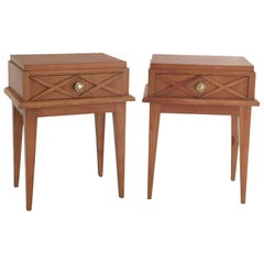 Pair of Beechwood Nighstands in the Style of Maison Gouffe, France, 1950s