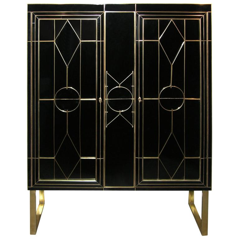 Italian Art Deco Style Black Glass Cabinet Bar With Bronze Highlights At 1stdibs