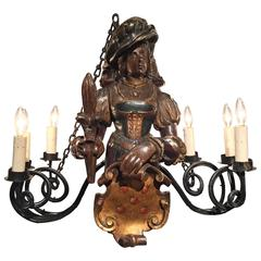 19th Century German Lusterweibchen Carved Walnut Polychrome Six-Light Chandelier