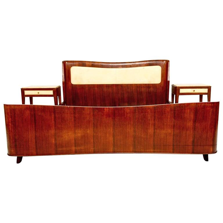 Mcm italian queen bed and nightstands with parchment and Canadian bedroom furniture manufacturers