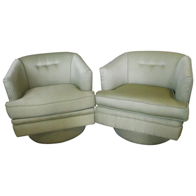 Milo Baughman Vintage Pair Swivel Base Arm Chairs Barrel Tub Hollywood Regency