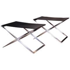 Pair of PK 91 Folding Stools by Poul Kjærholm for E. Kold Christensen