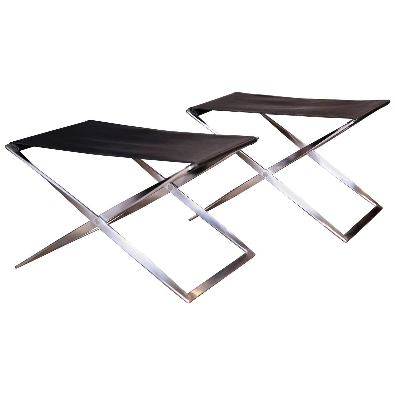 pair of pk 91 folding stools by poul kjrholm for e kold christensen for sale at 1stdibs