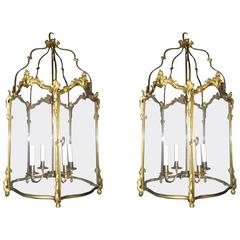 Pair of Large Elegant Antique French Louis XVI Gilt Bronze and Glass Lanterns