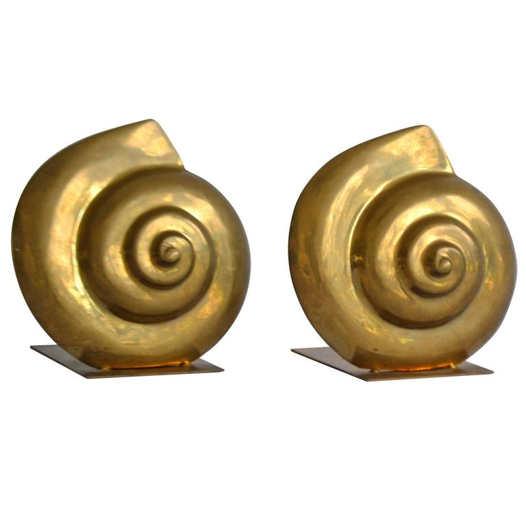Pair of Brass Nautilus Form Bookends