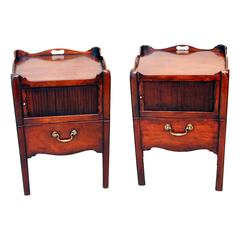 Antique Matched Pair of Georgian Mahogany Tray Top Commodes