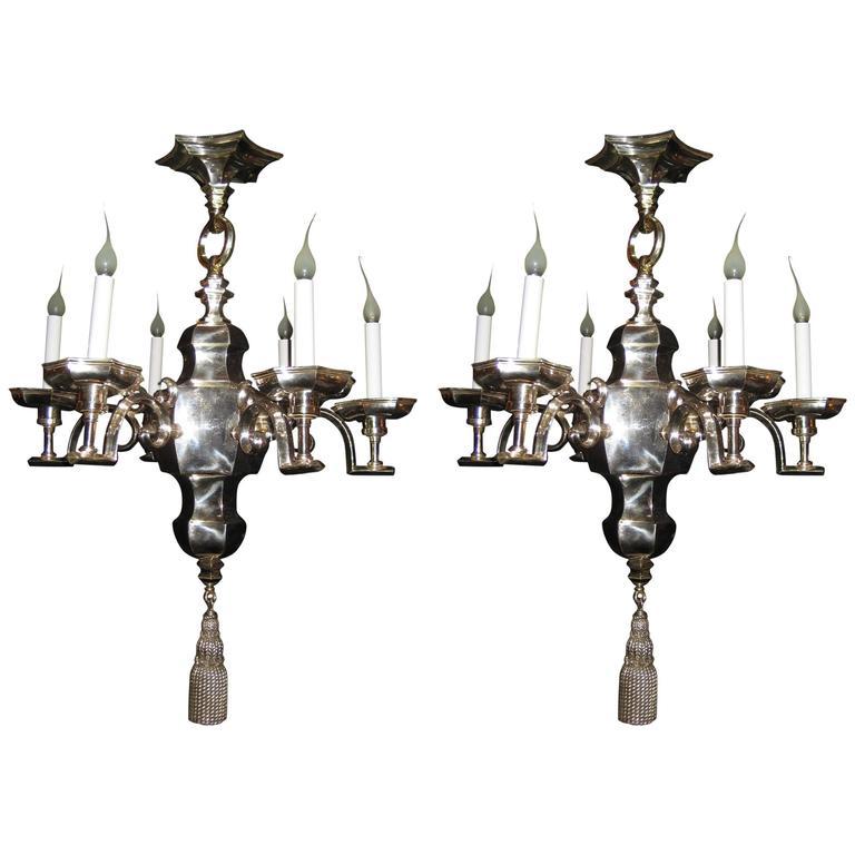 Pair of unique antique american art deco silvered bronze for Unique chandeliers for sale