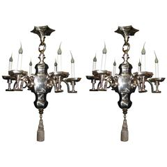 Pair of Unique Antique American Art Deco Silvered Bronze Caldwell Chandeliers