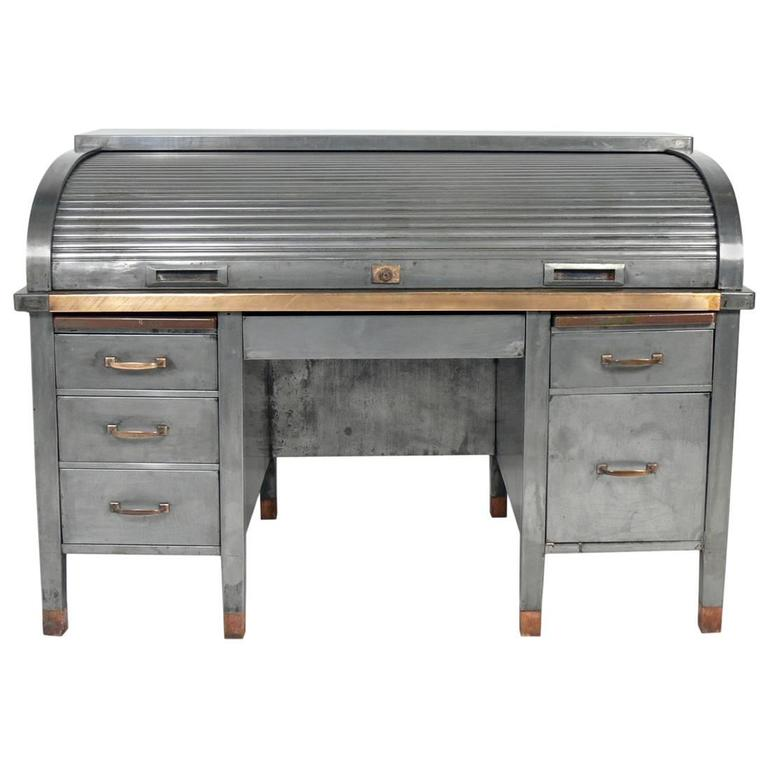 1930s Banker S Metal Roll Top Desk For