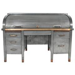 1930s Banker's Metal Roll Top Industrial Desk
