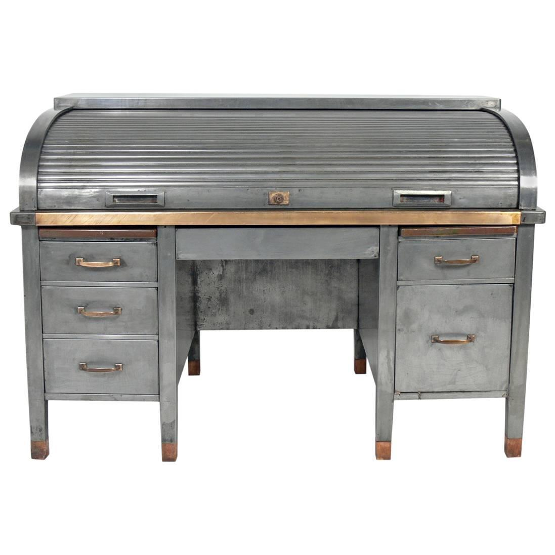 1930s Banker S Metal Roll Top Industrial Desk For Sale At