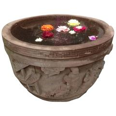China Huge Hand-Carved Round Garden Stone Planter or Water Basin