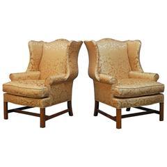 Chippendale Design Rose Quartz Wing Chairs
