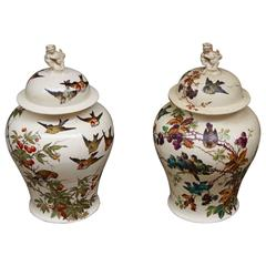 Large Pair of Meiping Shape Vases Signed by E Kilbert
