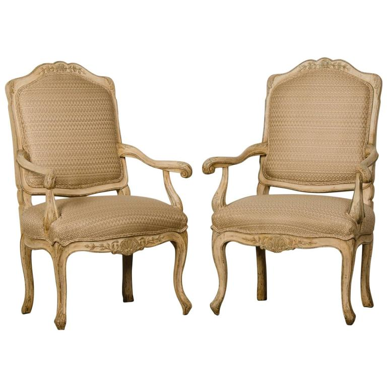 Pair of Louis XV Period Italian Armchairs, Original Painted Finish, circa 1770 For Sale