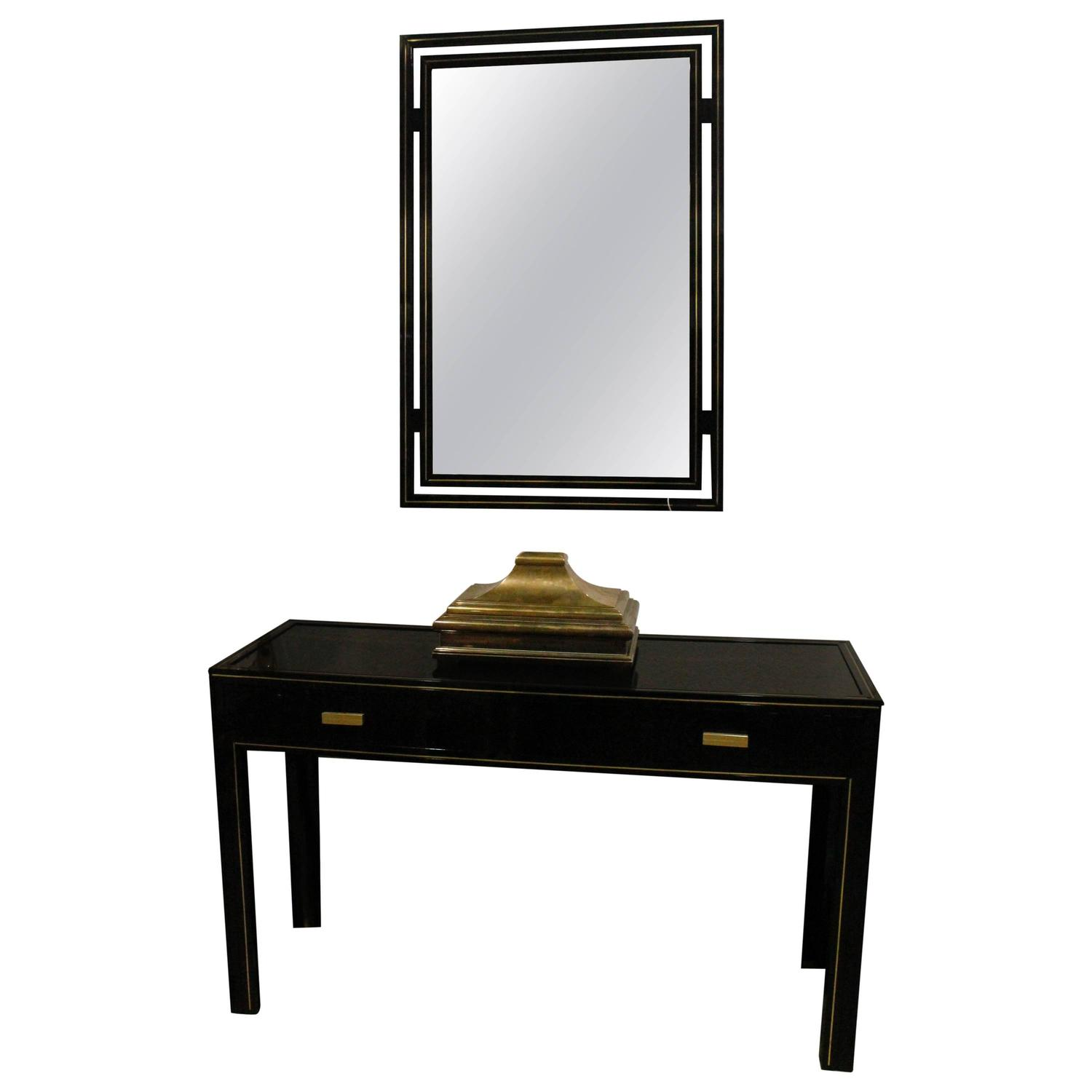 Pierre vandel paris desk console table and wall mirror for Wall table with mirror
