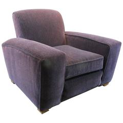 Art Deco Aubergine Mohair Lounge Chair