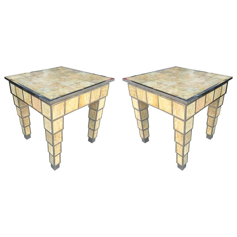 Skyscraper Style Stainless Steel And Parchment Side Tables