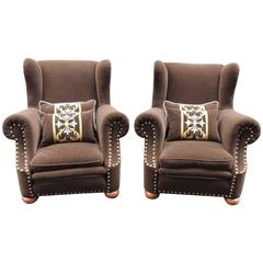 Pair of Early 20th Century, French Chairs with Brown Mohair Upholstery