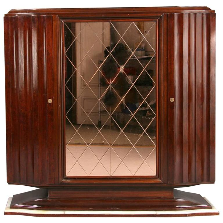 Art Deco Cabinet with Peach Color Etched Doors For Sale